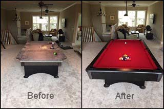 Expert pool table refelting backed by an exclusive guarantee